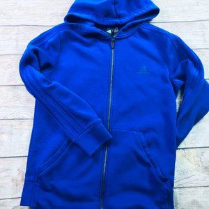 Adidas fitted bright blue full zip hoodie sz M